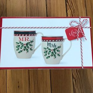 3/$20 Never opened Lenox Mr. & Mrs. holiday mugs